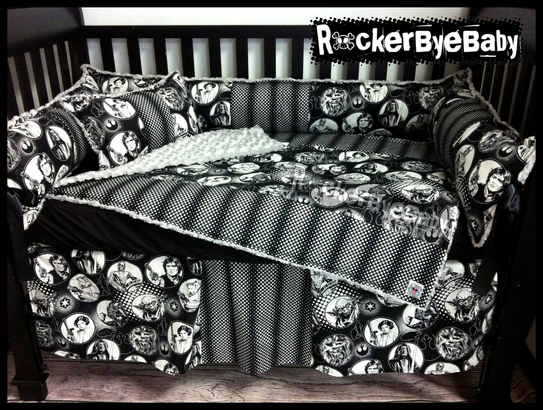 CUSTOM STAR WARS Geek baby 4 piece mixed prints crib bedding