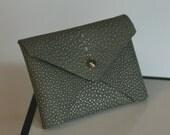 Celadon Green Shagreen leather handmade business card holder, envelope style case