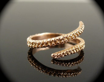 SALE- OctopusME 14K Rose Gold Tentacle Stacking Ring