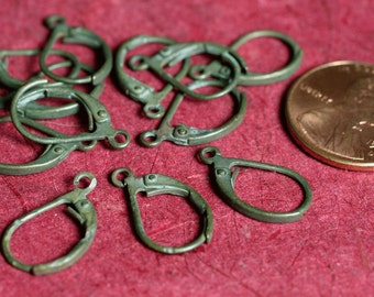 Hand antiqued oxidized leverback earwire 16x9mm, 12 pcs (item ID ABE16x9D)