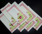 retro vintage floral napkin set of 7 for your 50s kitchen table