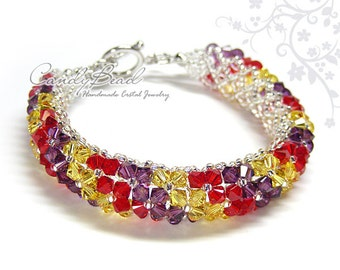 Swarovski Crystal Bracelet, Multicolored - Red, Purple and Yellow