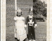 Fantastic Vintage Photo of Children in Costume, Fancy Dress King and Queen of Hearts 1940s