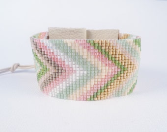 Spring Chevrons, loom beaded cuff in mint, pink, cream, spring green