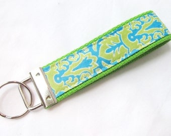 Wristlet Key Fob Key Chain in Aqua and Lime Green Damask - Fabric Keychain