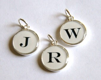 Custom Monogram Letter Charm Pendant - Silver or Gold - Any letters