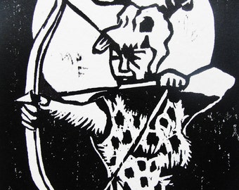 D for Diana (woodcut)