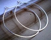 Simple Rustic Organic Everyday Whisper Thin Featherweight Sterling Silver Earrings - Extra Large Size