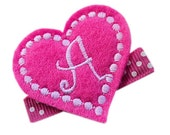 FELT Monogram Hair Clip - HOT Pink personalized HEART - monogrammed hair clips for girls Valentine's Day