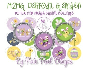 INSTANT DOWNLOAD - M2MG Daffodil Garden Bottle Cap Collage Sheet