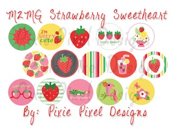 INSTANT DOWNLOAD - M2MG Strawberry Sweetheart -1 inch Bottle Cap Disc-Its Scrapbooking Boutique Digital Collage Art Sheet