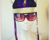 Feather Head Dress with Gold embellishment