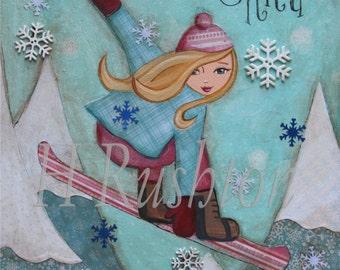 Snowboarder Girl Art,  Snowboard Decor, Kids Wall Art, Tween Decor,  Snowboarding, Blonde Shredder, Art Print Size 8 x 10 by HRushton