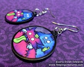 Silly monsters Tunbridge & Uttoxeter - Feeping Creatures acrylic earrings