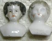 2 Victorian Broken China Doll Heads Black Hair