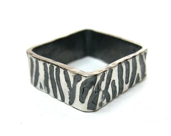 Wide Square Zebra Print Ring, Silver With Black/Grey Detail