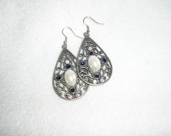 Earrings, 2 inch metal, pearl and rhineshtone accents, blue and crystal