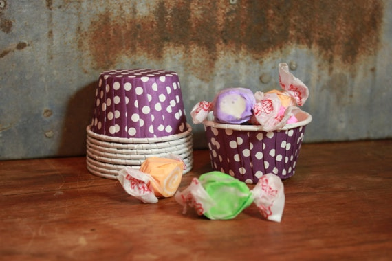 12 Purple and White Dots Baking Cups -- Paper Nut Cups -- Large 3.5oz