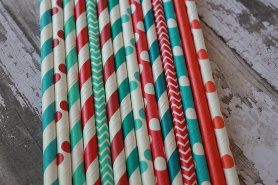 25 Cirus Party Straws -- Christmas, Winter, Cat in the Hat -- aqua, turquoise, caribbean, red, brick red