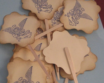 12 Cupcake Toppers Angel Birthday
