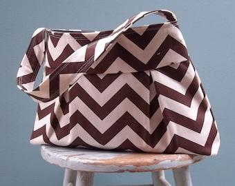 Brown chevron handbag - 3 pockets - Key Fob - Canvas weight