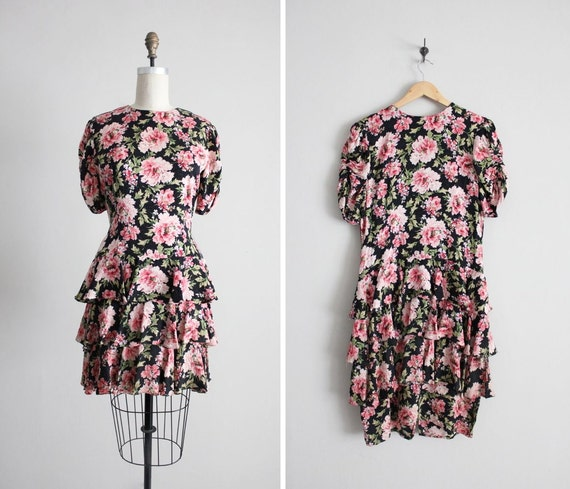SALE - floral silk dress / floral print dress / silk ruffle dress