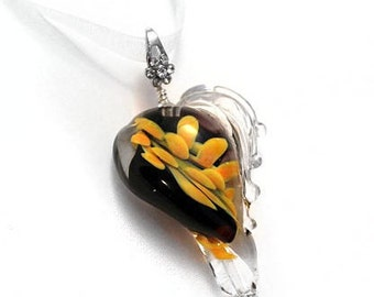 glass heart pendant, implosion glass pendant, lampwork pendant