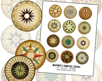 Mariner's Rose Compass color digital collage sheet 2 inch circle two 50mm for badge pinback button props
