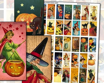 "Antique Halloween domino digital collage sheet 1x2"" 25mm x 50mm black cat witches jack o'lantern pumpkin stars shabby chic victoriana"