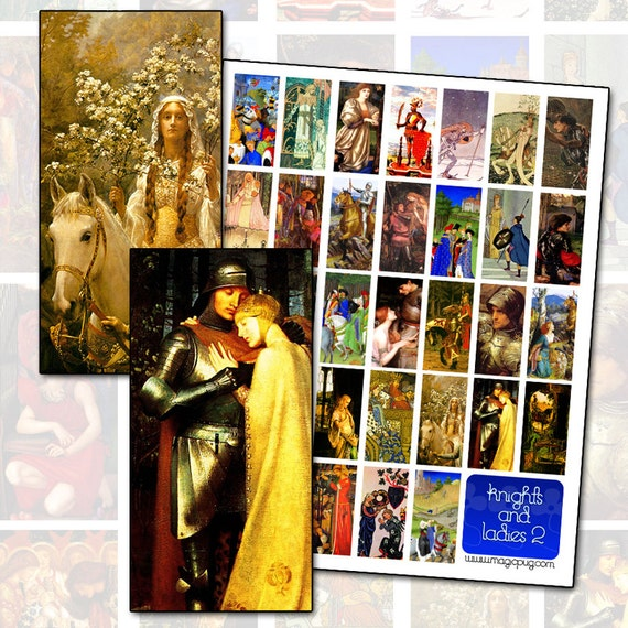 Knights and Ladies II Prince and Princess Digital Collage Sheet domino size 1x2 inch 25mm x 50mm
