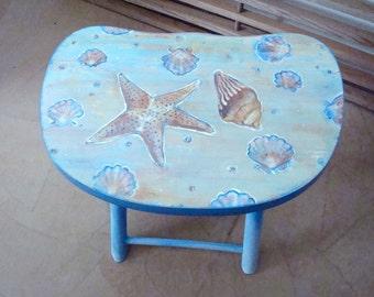Blue Painted Seashell Beach Theme Folding Stool Hand Painted Vintage Wood Seat