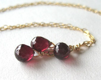 Garnet Teardrop Necklace, Fine Gauge Gold Chain Gemstone Necklace, 16 Inches, Dark Red Briolettes, Burgundy Drop Pendant, Handmade, Mellie