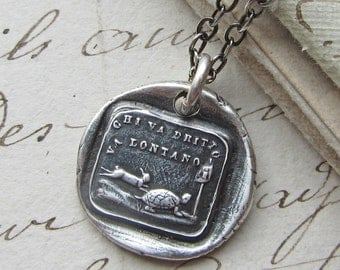 Antique Italian Wax Seal Necklace - The Tortoise and the Hare - Aesop Fable  bunny and turtle - inspirational necklace - IS260