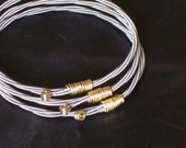 Guitar String Bangle Bracelet Trio - Steel 1