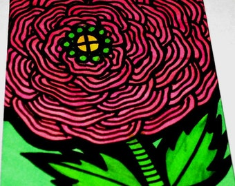 Original Drawing ACEO Large Pink Flower Design