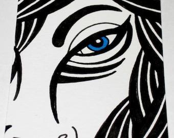 Original Drawing ACEO Blue Eye Design