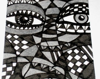 Original Drawing ACEO  Black and White and Grey Face Design