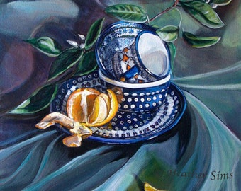 Boleslawiec Polish Pottery mug still life art print, great kitchen artwork, giclee print, kitchen wall art prints, Heather Sims, mat option
