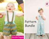 Pattern Bundle MaliAlls and Dapper Dudes and Dolls Suspender Shorts PDF Sewing Patterns.