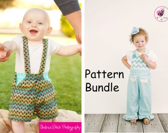 Pattern Bundle MaliAlls and Dapper Dudes and Dolls Suspender Shorts PDF Sewing Patterns.