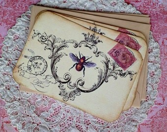 Bee Notecards - Vintage Bee Notecards -  French Postcard - Flat Notecards, Butter Yellow - Set of 3