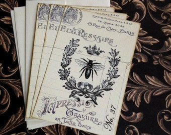 French Bee Notecards - Vintage Bee Notecards - Flat Notecards, Laurel Wreath - Set of 3