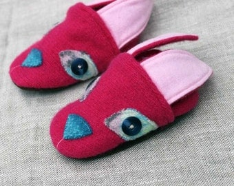 Pink Bunny Wool Slippers Leather Bottom Baby Slippers fits 6-12 months old made from recycled materials