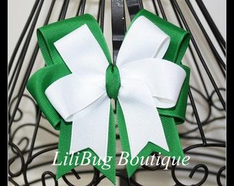 LiliBug Layered Green and White Hair Bow
