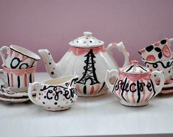 Paris Themed Tea Set --  Personalized Little Girl's Tea Set. . . Ooh La La. . .Personalized Tea Set and 4 Matching Tea Cups