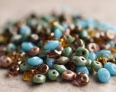 Czech Glass SuperDuo Turquoise Picasso Mix 5x2mm Seed Bead : 10 grams