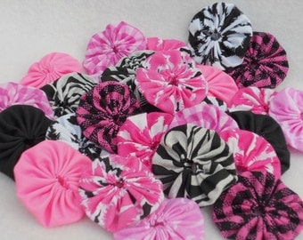 "Fabric Flowers Applique Cupcake Toppers 2"" Button 50 YoYo Birthday Party Wedding Hair Bobby Pin Scrapbook Wholesale Handmade"