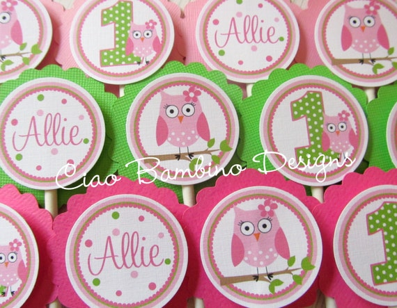 Look Whooo's Having a Party - OWL Cupcake Toppers for GIRLS - Choose Your Colors