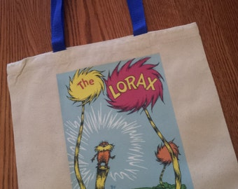 Dr. Seuss Lorax book cover canvas tote