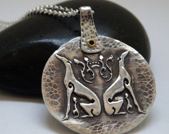 Greyhound Necklace - Greyhound Jewelry - Balance Two Hound Circle Necklace - Fine Silver
